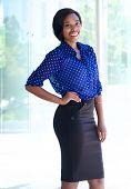 Smiling Confident Business Woman Standing Outdoors