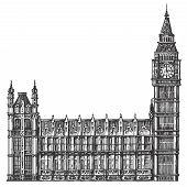 big Ben vector logo design template. London or United Kingdom icon.