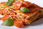 Portion Of Italian Lasagna Closeup On A White Plate. Horizontal
