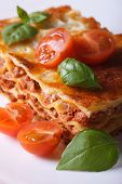 Piece Of Lasagna On A White Plate. Vertical Close-up
