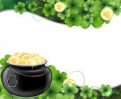 pic of gold panning  - Leprechaun pot on clover and gold coins - JPG