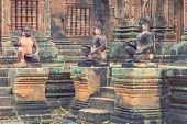 stock photo of guardian  - Angkor Banteay Srei temple guardian statues - JPG