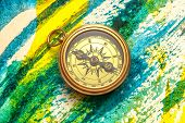 Vintage Compass On Abstract Watercolor Painting