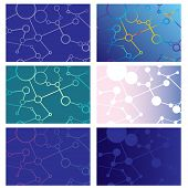 Set Of Abstract Backgrounds Of Intersecting Lines And Circles