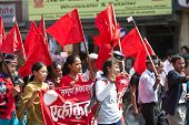 Supporters Of The Communist Party Of Nepal