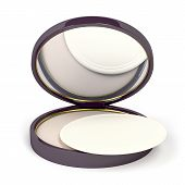 stock photo of face-powder  - Face powder with mirror on white background - JPG