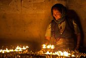 Tibetan woman at Boudhanath, Nepal