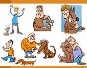People With Pets Cartoon Set