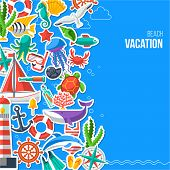picture of summer beach  - Summer Concept with Flat Icons - JPG