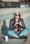Hipster Girl In Leather Jacket, Hat With Retro Camera And Mobile Phone