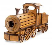 picture of train-wheel  - wooden train isolated on the white background - JPG