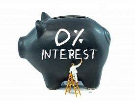 pic of zero  - A piggy bank with zero percent interest theme painted on the side - JPG