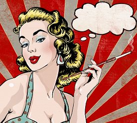 foto of invitation  - Pop Art illustration of woman with the speech bubble and cigarette - JPG