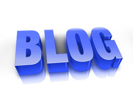 image of blog icon  - 3d rendered illustration on a white background with reflection - JPG