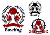 foto of bowling ball  - Bowling balls crashing ninepins on lanes - JPG