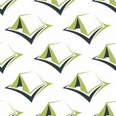 stock photo of canopy roof  - Tourist camp tents seamless pattern with stylized green pitched ridge tents on white background for textile or travel design - JPG