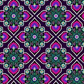 picture of mexican  - seamless folk pattern floral detailed decotations diamond rhombus shape pop colors - JPG
