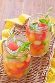 pic of cantaloupe  - Melon cocktail with watermelon - JPG