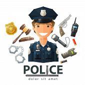 image of trooper  - happy policeman in uniform - JPG