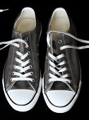 Gray Sneakers Classic Youth Footwear At Black Background