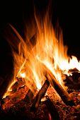 Burn Hot Fire Flame At Dark Background