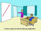 image of going out business sale  - Business cartoon of a business office and a woman suggesting to the manager that he might like the wall art that shows an arrow going up - JPG