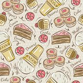 image of ice-cake  - Background with cupcake ice cream cake and cookie. Ideal for printing onto fabric and paper or scrap booking. - JPG
