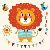foto of lion  - Vector illustration in cartoon naive style - JPG