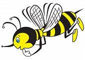 stock photo of bee cartoon  - Illustration of The thinking cartoon bee on a white background - JPG