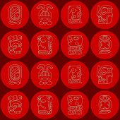 image of glyphs  - Seamless background with Maya calendar named months and associated glyphs for your design - JPG