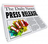 image of newspaper  - Press Release words in a newspaper headline to illustrate PR - JPG