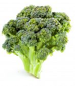 picture of gai  - Broccoli close up on a white background - JPG