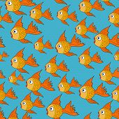 foto of koi tattoo  - vector seamless pattern with fishes - JPG