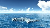 foto of iceberg  - Computer generated 3D illustration with some icebergs - JPG