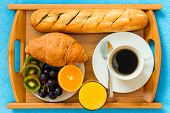 foto of continental food  - Continental breakfast on a tray from above a close - JPG