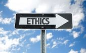 stock photo of ethics  - Ethics direction sign with sky background - JPG