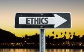 foto of ethics  - Ethics direction sign with sunset background - JPG