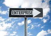 foto of enterprise  - Enterprise direction sign with sky background - JPG