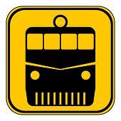 stock photo of locomotive  - Locomotive button on white background - JPG