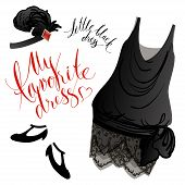 picture of headgear  - Vector image of black retro dress - JPG