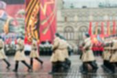 stock photo of parade  - Parade on Red Square in Moscow blur background with bokeh effect - JPG