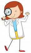 stock photo of grown up  - Female scientist using magnifying glass - JPG