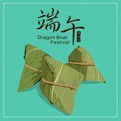 stock photo of dragon  - Vector Dragon boat festival rice dumplings - JPG