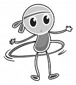 picture of hulahoop  - Doodle person doing hulahoop alone - JPG