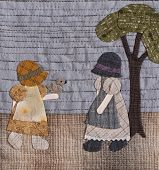 image of applique  - Sunbonnet sue applique quilt with two little girls - JPG