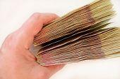 Постер, плакат: Ukrainian Money Of Value 100 In The Hand Isolated
