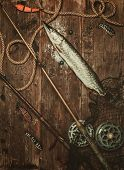 pic of fishing bobber  - Fishing tools and fresh pike on a wooden table - JPG
