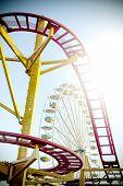 stock photo of amusement  - Retro vintage instagram stylized picture of an empty amusement park - JPG