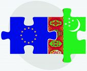 picture of turkmenistan  - European Union and Turkmenistan Flags in puzzle isolated on white background - JPG
