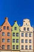 stock photo of tenement  - Facades of ancient tenements in the old town in Gdansk - JPG